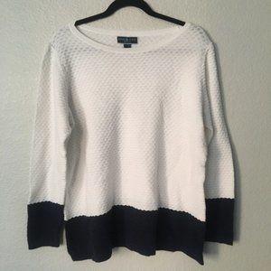 Karen Scott White Navy Blue Color Block Sweater 0X